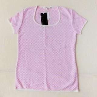 ★新品★ ラメ入りピンクの半袖ニット Lサイズ