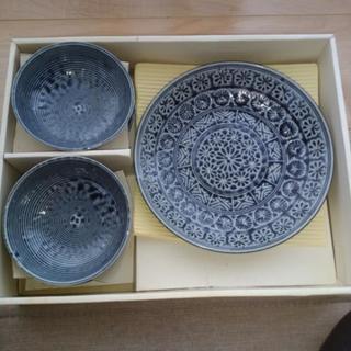 (お取引中)龍峰窯 三洋陶器 青三島すきやきセット