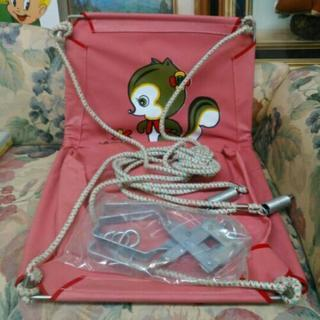 昭和レトロ 吊り下げ型ブランコ リス柄 ピンク レトロポップ