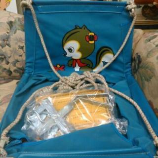 昭和レトロ 吊り下げ型ブランコ リス柄 ブルー レトロポップ