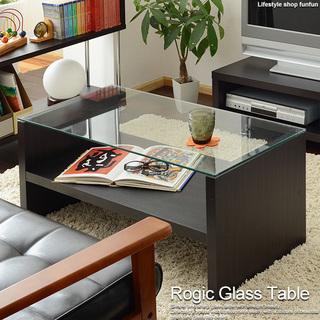 ガラステーブル ローテーブル 幅90cm ダークブラウン