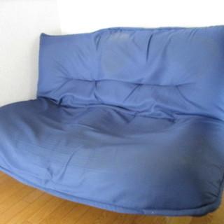 2人掛けソファベッド 布製 青・ブルー