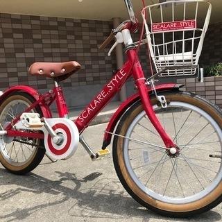 自転車練習用に!16インチ 子供自転車:幼児用 赤 前カゴ付き 鹿...