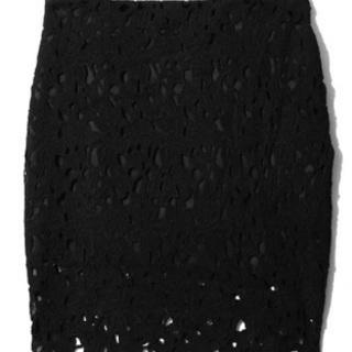 フラワーレースタイトスカート*ブラック*