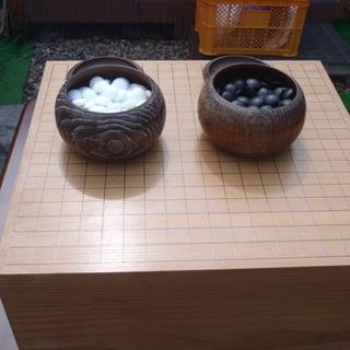 (終了)★囲碁盤 碁石セット★盤厚17.5cm★中古品★