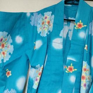 綿100%浴衣 水色カラー×花柄