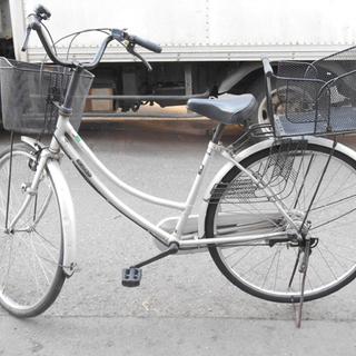 札幌 自転車 ママチャリ 切換え付き カゴ付き シルバー色 26インチ