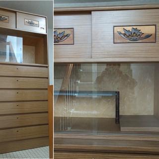 昭和レトロ アンティーク 整理箪笥  木製二段式