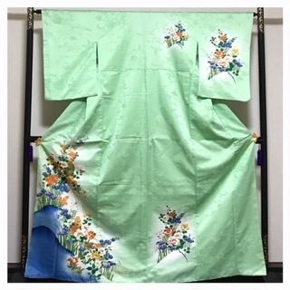 上質 化繊 訪問着 大サイズ 黄緑 優美 花模様 袷 中古品