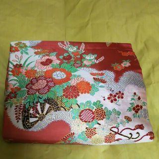 アンティーク☆名古屋帯 ピンク 菊 牡丹 御所車