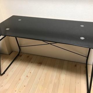 黒 ブラック パソコン ガラス トップ デスク テーブル