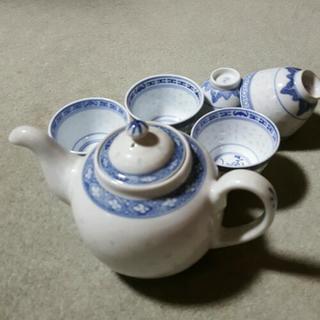 中国茶ポット&お茶碗5個セットの画像