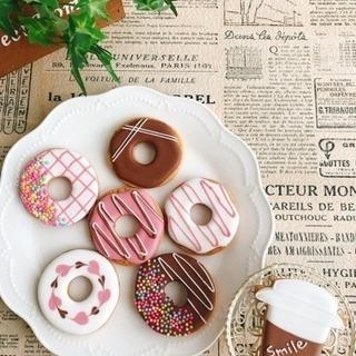 【アイシングクッキー】ドーナツ・コーヒー 3つ作ります♡