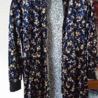 【未着用品】花柄 ベロア ロングジャケット