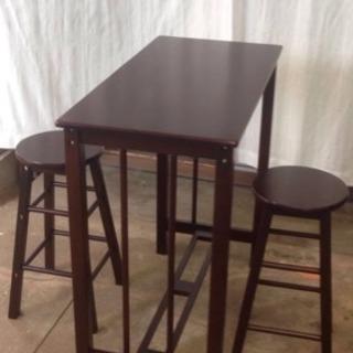 🉐🔵お洒落で綺麗な 無垢材カウンターテーブルセット