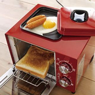 目玉焼きが一緒に作れるオーブントースター(レッド)