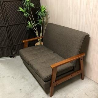 天然木 木製フレーム 布張り ダークブラウン 2人掛け コンパクト...