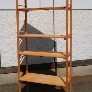 木目調5段収納棚 高さ12段階調整可能 シンプルな棚 ウッドラック...