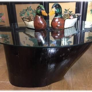 「サイドテーブル(一本木・ガラス天板)」Z6