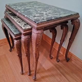 1940年代:欧州製アンティーク■マーブルトップのネストテーブル(...