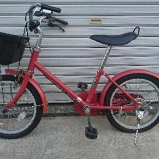 子供用自転車 補助輪あり 無印良品 赤 16インチの画像