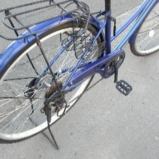 紺色自転車27インチ 六段切替