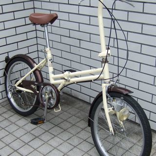 20インチ 折り畳み自転車 6段変速 クリーム色 中古