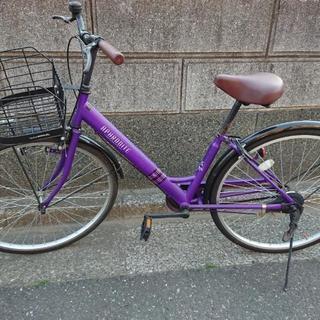 紫フレーム 自転車 シティサイクル