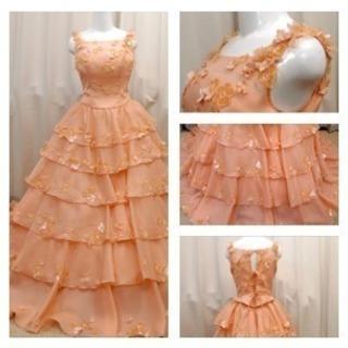 美品お花いっぱいフリル ウェディングドレス