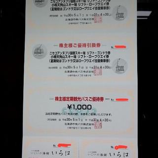 ニセコアンヌプリ国際スキー場リフトゴンドラ8時間券2枚/入浴券2枚...