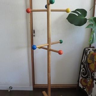 天然木◆昭和レトロ◆ミッフィーのスタンド式木製ポールハンガー 子供...