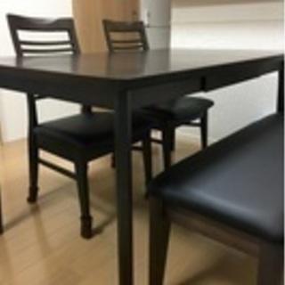 ダイニングテーブル(引き出し付き)+椅子4脚 横135×縦80×...