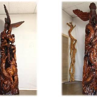 「竜・虎・鷹 一目木彫り/ 高さ2m20cm」A21