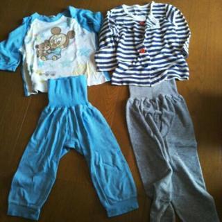 ベビーミッキーとボーダー柄パジャマ 90 (春・秋もの)