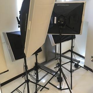 写真撮影用照明ソフトボックス 4灯ソケット+スタンド 2本セット