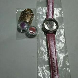レディース ハート 腕時計+ハンドメイドマグネット