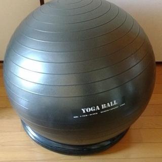バランスボール 75cm 黒 ポンプ、トレーニングチューブ付