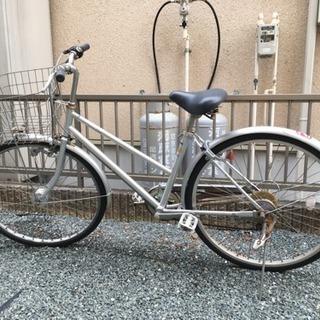 中古 26インチ 中古 6段変速オートライト付通学使用自転車