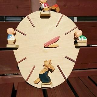 3匹のこぶた 壁掛け 時計 木工 かわいい えほん村