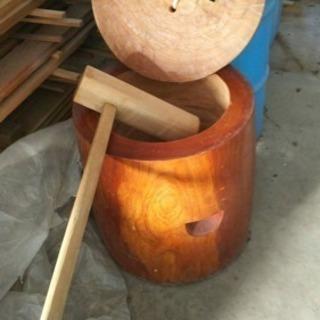 ケヤキ手彫り 臼、杵、蒸し器