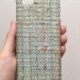 iPhoneケース 手編み模様 ブルー系