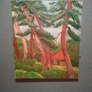 山梨市の松林の油絵