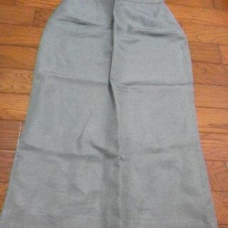 モスグリーン 大人かっこいい! 麻っぽい ロングタイトスカート  M
