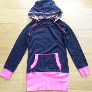 フード付きトレーナー 黒/ピンク Mサイズ