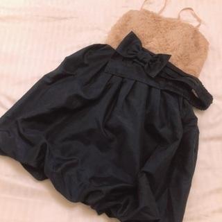 ベージュ ネイビー 紺 ワンピース バルーンスカート ドレス リボ...