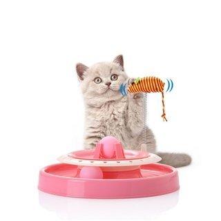 【新品】猫 おもちゃ ペット 用品 遊ぶ盤 回転 電池不要 運動...