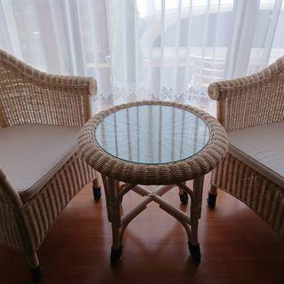 高級 籐家具 おしゃれ テーブル チェア 3点セット