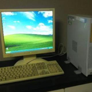 ウィンドウズXPデスクトップ、モニター、キーボードのセット