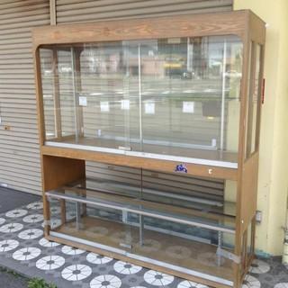無料 さしあげます 木製 ショーケース ガラス棚 大型 引き取り限定