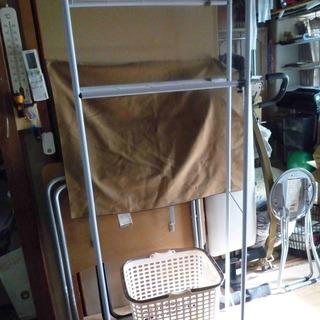 伸縮式洗濯機棚  ランドリーバスケット   中古品